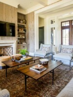 Living room with pecky cypress walls