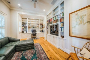 Office with built-in bookshelves