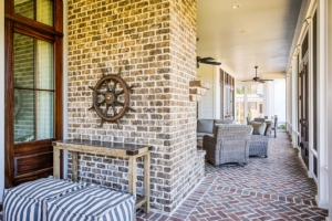 Fireplace on a screened porch