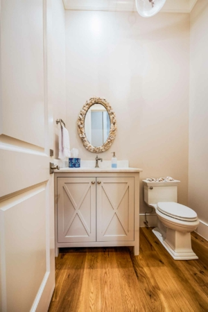 Powder room toilet and vanity