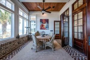 Carolina room with brick floor