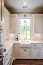 White kitchen with a farmhouse sink