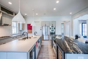 modern kitchen with two islands