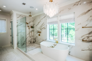 Master bathroom with marble wall tile