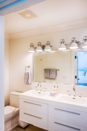 white bathroom with modern vanity