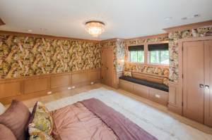 large bedroom with built-ins