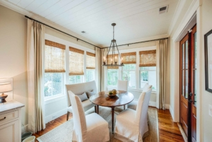Dining room with shiplap ceiling
