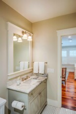 Guest bathroom with marble top vanity