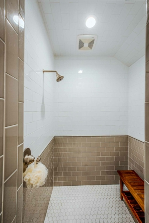 Guest shower with subway tile