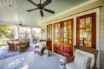 Screened back porch with mahogany French doors