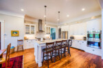 Kitchen with a marble top island