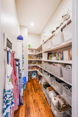 Kitchen pantry with lots of shelf storage