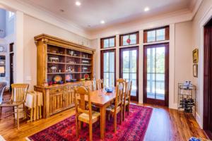 Dining room with mahogany doors