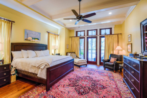 Master bedroom with coffered ceiling