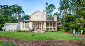 Two-story house with screened back porch