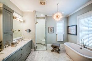 master bathroom with gray double sink vanity