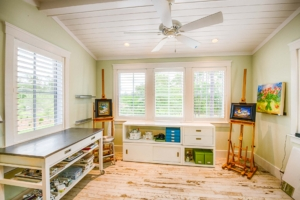 "art studio with tile ""wood"" flooring"