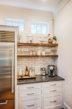 Butler's pantry with white subway tile