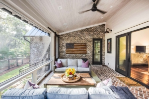 Screened porch with brick floor