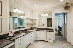 Master bedroom with porcelain tile floor