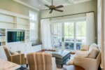 Living room with coffered shiplap ceiling