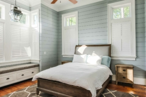Guest bedroom with shiplap walls