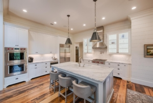 Kitchen with marble top island