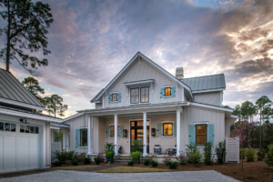 Gray house with teal shutters