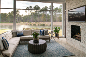 Screened porch with outdoor fireplace