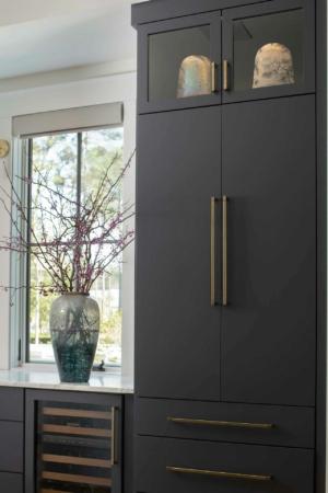 Dark gray kitchen cabinet