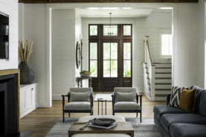 Living room with shiplap accent walls