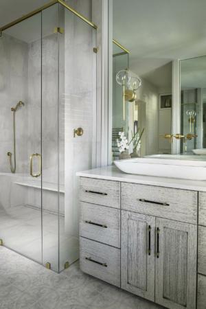 Master bathroom vanity and full glass shower