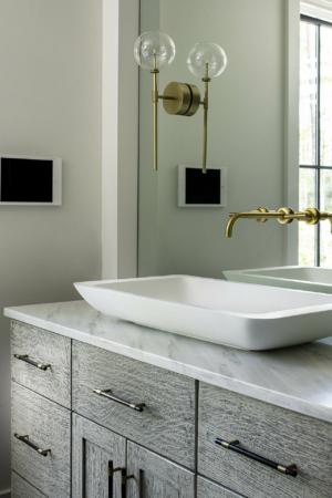 Master bathroom vanity with vessel sink