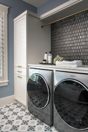 Laundry/mud room with modern front-load appliances