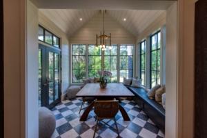 Breakfast nook with checkerboard marble floor