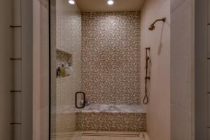 Master shower with Solistone leaf tile