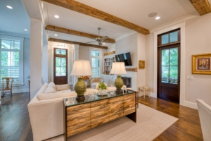 Living room with reclaimed ceiling beams
