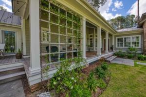 Back porch with decorative trellis